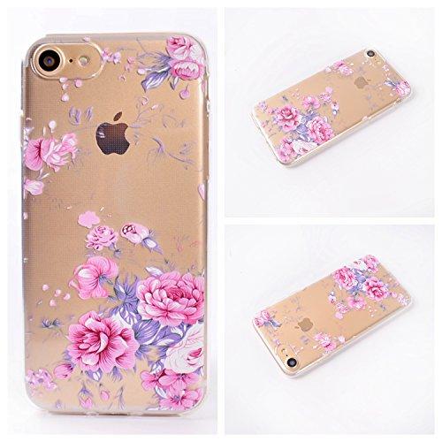 Qiaogle Téléphone Coque - Soft TPU Silicone Housse Coque Etui Case Cover pour Apple iPhone 5 / 5G / 5S / 5SE (4.0 Pouce) - QI04 / Diamant Rayures QI02 / Pink Rose