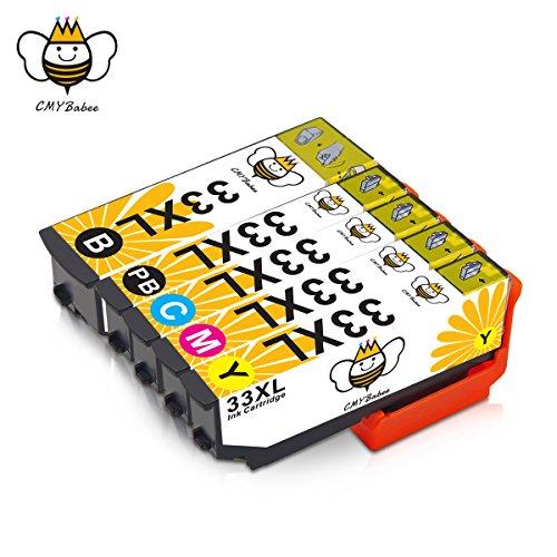 33XL 33 XL Cartucce Inchiostro CMYBabee Ricambi Alto Rendimento Compatibile con Stampanti Epson XP-640 XP-530 XP-830 XP-645 XP-540 XP-900 5-pacco (1 nero,1 photo nero,1 giallo, 1 ciano,1 magenta)