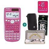 Casio FX 85 GT Plus Pink + Schutztasche + Geometrie-Set + Erweiterte Garantie