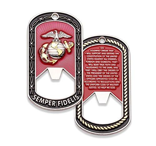 Marine Corps Challenge Münze - Dog Tag - Flaschenöffner Münze - entworfen von Marines for Marines - Offizielles Lizenzprodukt - Münzen für alles -