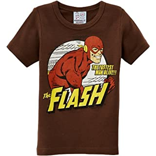 Logoshirt Jungen T-Shirt, DC - Flash - The Fastest Man Alive, GR. 134 (Herstellergröße: 7-9 ans), Braun (Mustang Brown)