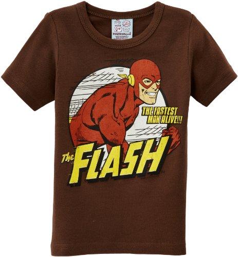 Logoshirt - DC - Flash - The Fastest Man Alive, T-shirt per bimbi, Marrone (Marron (Mustang Brown)), 6 anni