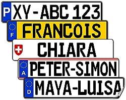 Satz Nummernschild Aufkleber (2 Stück) für vorne und hinten (Spanien, ca. 13 x 2,7 cm) - Mit Name/Wunschtext