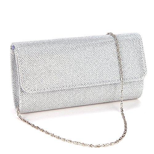 VADOOLL Damen Tasche Mädchen Clutch Bag Handtasche Party Hochzeit Abendtasche Kette Tasche Umhängetasche glitzernd,Silber