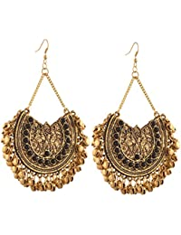 Zephyrr Fashion German Silver Afghani Dangler Hook Chandbali Earrings For Women