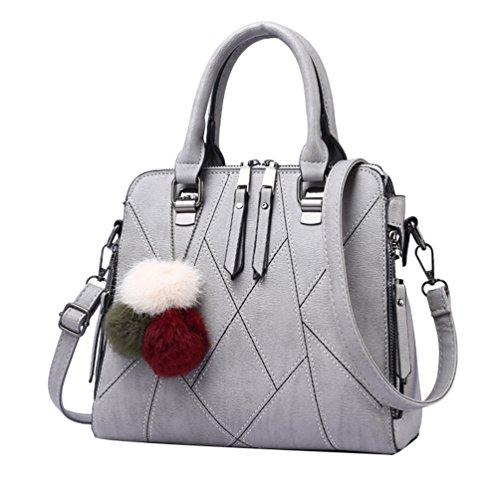 Youpue Eleganti Borse Da Donna In Pelle Pu Borse Tote Shopper Crossbody Bag Ornamenti Hairball Grigio Chiaro