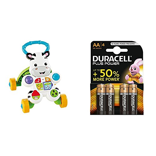 Fisher Price - Cebra parlanchina primeros pasos (Mattel DLD87) + Duracell Plus Power Pilas Alcalinas AA, paquete de 4