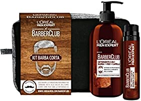 L'Oréal Paris Men Expert Barber Club Kit Barba Corta Pochette con Detergente 3-In1, Barba-Viso-Capelli e Gel Idratante per Barba Corta