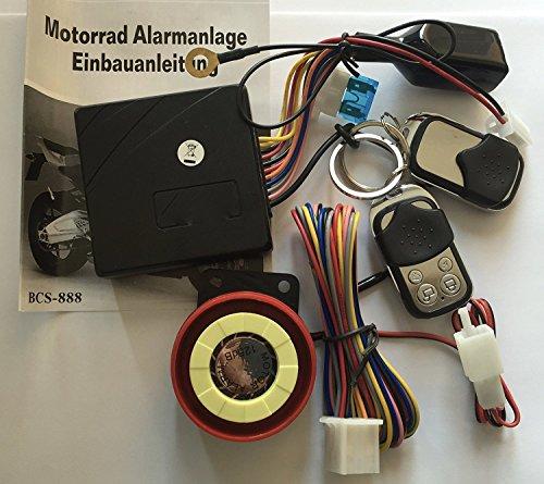 12Volt Roller Motorrad oder Quad Alarmanlage mit Motorstart + 2 Sender für alle Roller mit 12 Volt