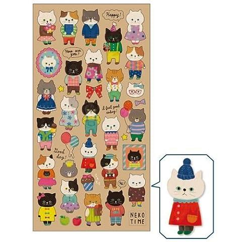 Süße niedliche Katze Tier im bunten Outfit Sticker von Mind Wave