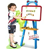 #7: kidzone 3 In 1 Educational Magnetic White Chalk Board Learning Easel For Kids 84 Pcs