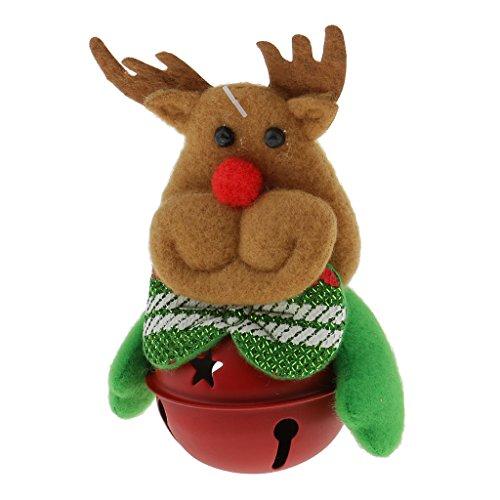 MagiDeal Weihnachtsglöckchen - Hängende Ornamente - Weihnachtsglocken - Weihnachten Baumschmuck - Baumanhänger - Elch, 11 x 7cm -