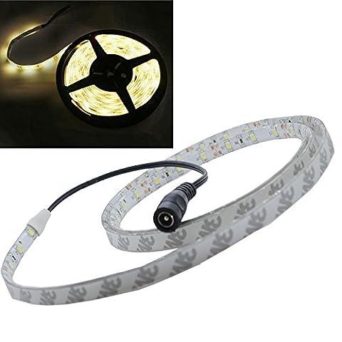 JnDee Warmweiss Warm White Leiste 1M 60 flexiable LED Strip Streifen LED Band Lichtlinie Wasserdicht/ 1 Meter mit 60 SMD 3528 LEDs DC 12V - ideal für Küche, HOME LED-Beleuchtung, BARS, Restaurants, etc. **
