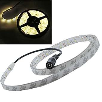JnDee Bande LED chaud blanc (Warm White) flexible lumineuse de 1M étanche à l'eau- Ruban de 1 Mètres avec 60 LED SMD 12V DC - idéal pour les cuisines, éclairage de maison, bar, restaurant, etc...