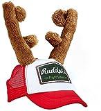shoperama Rudolph Cappellino con renna e corna di cervo, cappello di Natale, cappello di Babbo Natale