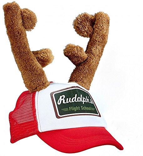 Rudolph Kappe mit Rentier Geweih Hut Cap Weihnachts-Mütze Hirsch Hörner Weihnachten Käppi Basecap (Schaumstoff-hut Verstellbare)