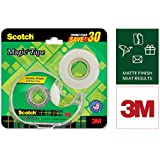Scotch Magic Tape - The Original Matte-Finish Invisible Tape by 3M, Super Saver Pack - 2 Rolls (Width 1.9cm Length 25.4m) + 1 Dispenser