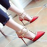 WHL Shoes Fein Mit High-Heel Schuhe Sandalen Licht Mit Stilvollen Niet Fein Mit Geschlitzten Binden Ein Rot 35