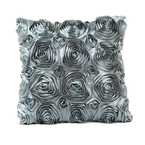 Indexp Rose Embroidery Throw Cushion Cover Sofa Home Decoration Pillow case (Gray)
