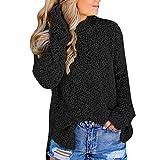 Damen Pullover Oberteile Langarm MYMYG Women Casual Stehkragen Side Split Vollarm Jumper Outwears Top Bluse(Schwarz,EU:34/CN-S)