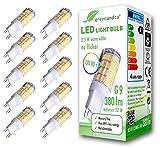 10x greenandco® CRI90+ LED Lampe flimmerfrei ersetzt 32W G9 3,5W 380lm 3000K warmweiß 300° 230V, nicht dimmbar, 2 Jahre Garantie