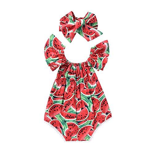 CIPOPO Baby Kinder Mädchen Sommer aus der Schulter Wassermelone Kleidung Bekleidungssets Playsuit KleidungBabykleidung Mädchen Neugeborenes Bodysuit Overall Outfit (1-2Y)