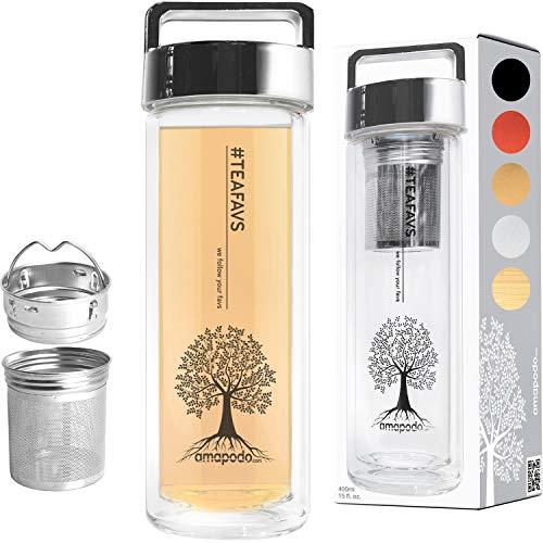 amapodo Teeflasche Teamaker doppelwandig 400ml Thermo Trinkflasche mit Edelstahl Tee Sieb und Deckel Silber BPA-frei