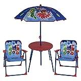 URBN Toys PJ Masks - Set Completo da Giardino e Picnic per Bambini, 2 sedie, Tavolo e ombrellone, 78 x 50 x 10 cm