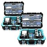Navaris caja de herramientas de plástico - Organizador de herramienta con protección antigolpes - Maletín para herramientas de bricolaje con asa