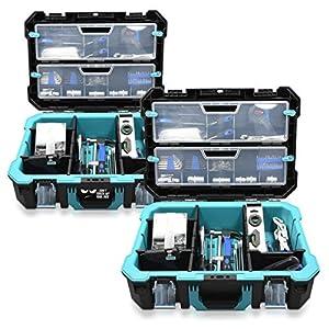 Navaris Caja de herramientas vacía – 52.5 x 38.9 x 19 CM – Maletín con 2 cerraduras varios compartimentos y 2 cajas – Estuche sin herramientas