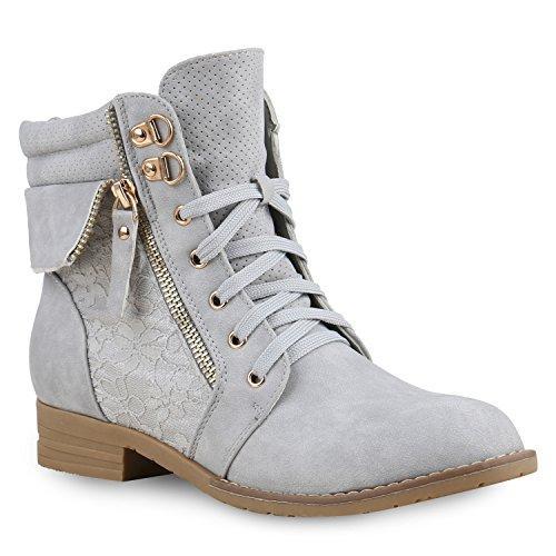 Stiefelparadies Damen Stiefeletten Schnürstiefeletten Leder-Optik Schuhe Spitze Boots Zipper Schnürboots 130901 Hellgrau Spitze 38 Flandell