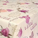 ANRO Wachstuchtischdecke Wachstuch Wachstischdecke Tischdecke abwaschbar Valse Piano Polka Blumen 180 x 140cm