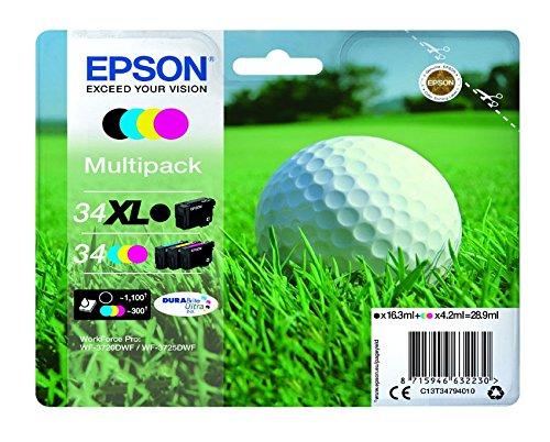 Preisvergleich Produktbild Epson c13t3479401012.6ml 16,3ml 1100Seiten 300Seiten schwarz, cyan, magenta, gelb Tintenpatrone–Tintenpatronen (Epson, schwarz, cyan, magenta, gelb, Epson Workforce Pro wf-3720dwf, wf-3725dwf, oben, 16,3ml, 12,6ml)