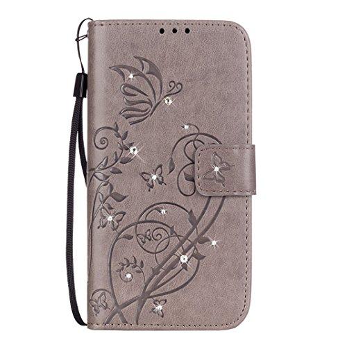 iPhone 7 Flip Cover, iPhone 7 Handyhülle mit Lanyard, iPhone 7 Bumper Flip Case, Moon mood® Mit Diamanten Ledertasche Brieftasche für iPhone 7 (4.7 Zoll) ,PU Leder Hülle Wallet Case Folio Schutzhülle  V-Grau