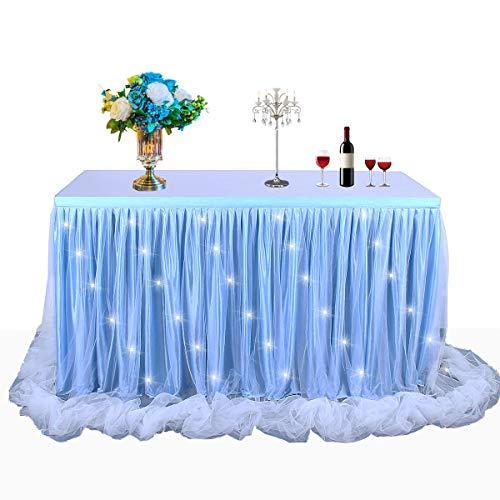 HBBmagic LED Handgefertigte Tischdecke/Tischdeko Tutu Tischrock Für Party, Hochzeit, Geburtstag, Weihnachten, Festival, Carniva, Feier Tischdekoration(Blau,183cm*76cm)