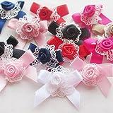 Chenkou - fiocchi con rose, appliques da decorazione per matrimonio - DIY 40 pezzi mix