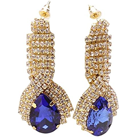 Mujers Pendientes,Xinan Rhinestone Elegante Pendientes Lujo Vendimia (Sapphire)