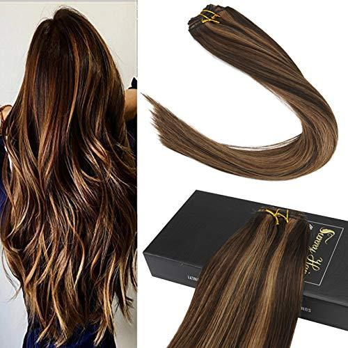 Sunny 1 bundle colore del piano brasiliani remy lisci tessitura capelli 24 pollice/60 cm darkest brown con carmelo biondo extension veri tessitura umain capelli 100g