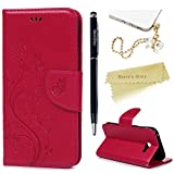 Mavis's Diary Samsung A5 Case ,Samsung Galaxy A5 Case (2017 Model) - PU Leather Wallet Flip Cover Classy Butterfly Flowers Embossed Design Magnetic Closure Card Holders Case with Hand Strap & Butterfly Dust Plug & Stylus Pen - Deep Pink