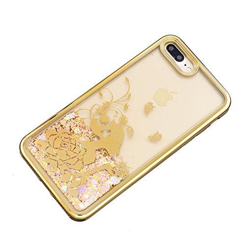 iPhone 7 Plus Hülle, Voguecase Flüssig Schwimmend Treibsand Glitzer Bling Silikon Schutzhülle / Case / Cover / Hülle / TPU + PC Gel Skin für Apple iPhone 7 Plus 5.5(Schmetterling Mädchen 04) + Gratis  Schmetterling Mädchen 04