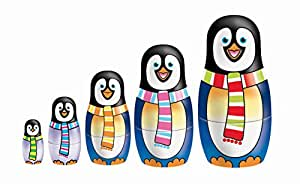 Ksg Arts and Crafts Matryoshka Nesting Penguin Doll Painting Kit with 5 Wooden Doll