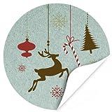 48 Weihnachtsaufkleber Weihnachtsdekoration Rentier und Zuckerstange - für Geschenke zu Weihnachten / Sticker / Aufkleber / Etiketten / Rund