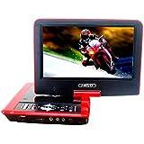 """Gamut-Tek 7.5 """"Lecteur DVD portable avec écran rotatif, support carte SD et USB, Lecture directe dans les formats MP4 / AVI / RMVB / MP3 / JPEG, Noir(Red)"""