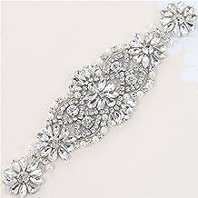 Rhinestone Applique con cristales y perlas para el vestido Headpieces Bolsas  (plata) c5396628b544