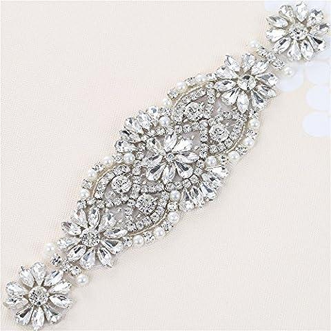 Appliqué en strass avec des cristaux et des perles pour les coiffes Sacs (argent)