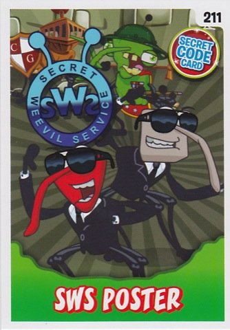 Bin Weevils Mulch Mayhem 211 SWS POSTER (EXTRA CODE CARD) Individuelle trading Card SECRET CODE - Poster Trading Card