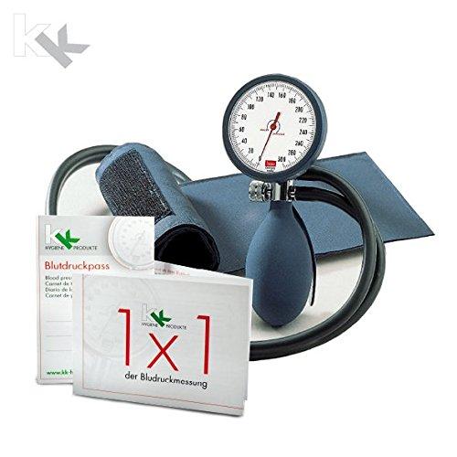 boso clinicus II mit Klettenmanschette Ø 60 mm | inkl. KK Blutdruckpass + 1 x 1 der Blutdruckmessung (Blau) - Medizinische Einheitliche