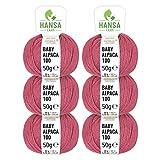 100% Alpakawolle in 50+ Farben (kratzfrei) - 300g Set (6 x 50g) - weiche Baby Alpaka Wolle zum Stricken & Häkeln in 6 Garnstärken by Hansa-Farm - Marsala (Altrosa/Rosa)
