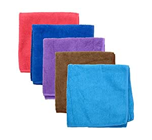 Mmm 5-Piece Microfibre Towel Cloth Set Car And Bike Cleaning Household Dusting, Scratch Free Cleaning - Multi-Color, 30X30Cm, Microfiber 250Gsm