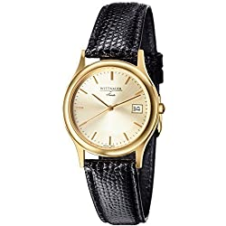 Wittnauer Trieste MidSize Gold tone watch on a Black leather strap 15b09